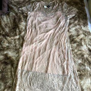 Blush lace slip dress